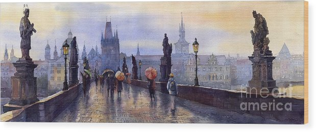 Cityscape Wood Print featuring the painting Prague Charles Bridge by Yuriy Shevchuk