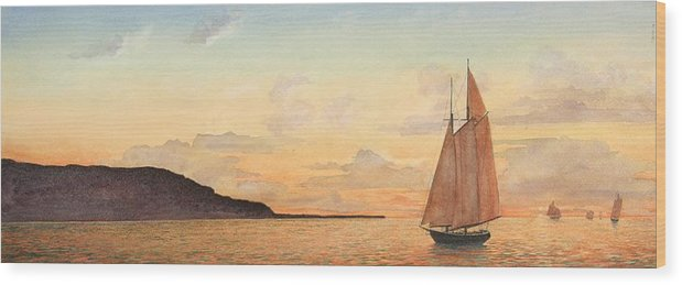 Seascape Wood Print featuring the painting Returning Home by Stephen Bluto