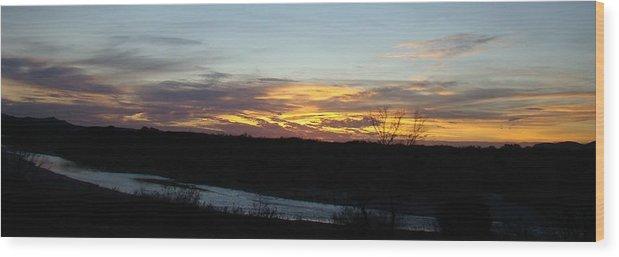Sunrise Wood Print featuring the photograph River Sunrise One by Ana Villaronga