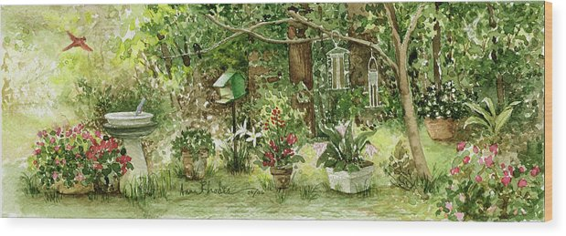 Nature Wood Print featuring the painting Sanctuary by Anne Rhodes