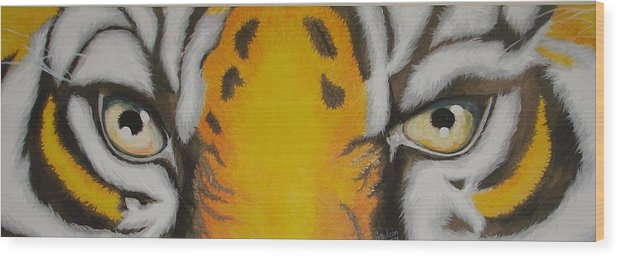Tiger Wood Print featuring the painting Tiger Eyes by Glory Fraulein Wolfe