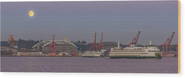 Full Moon Wood Print featuring the photograph Classic Full Moon And Ferries Panorama by Scott Campbell