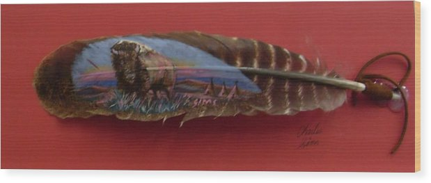 Feather Wood Print featuring the painting Red Bison by Charles Sims