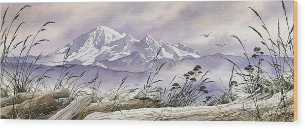 Landscape Fine Art Print Wood Print featuring the painting Enchanted Mountain by James Williamson