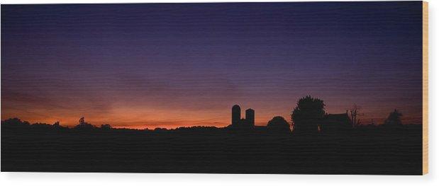 Farm Silhouette Lancaster Silo Sunset Sun Set Wood Print featuring the photograph Farm Silhouette by William Haney