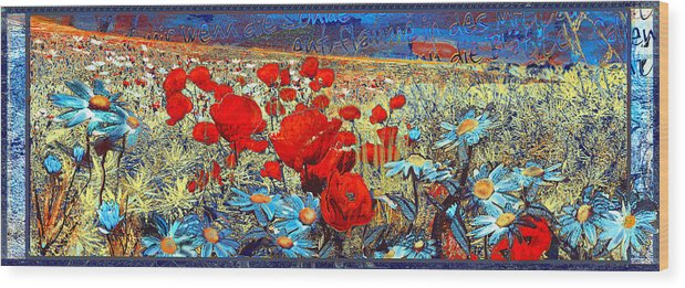 Papaver Wood Print featuring the painting Melancholic Of Late Summer by Anne Weirich