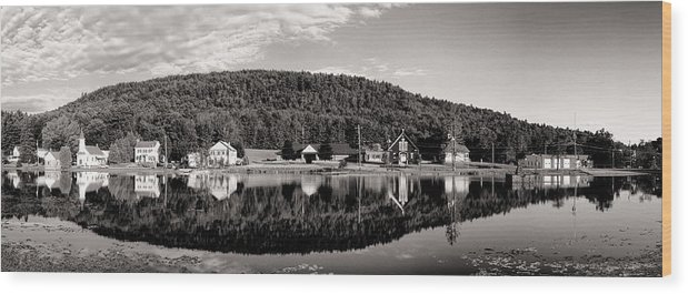 Adirondacks Wood Print featuring the photograph Brant Lake Reflections Black And White by Joshua House