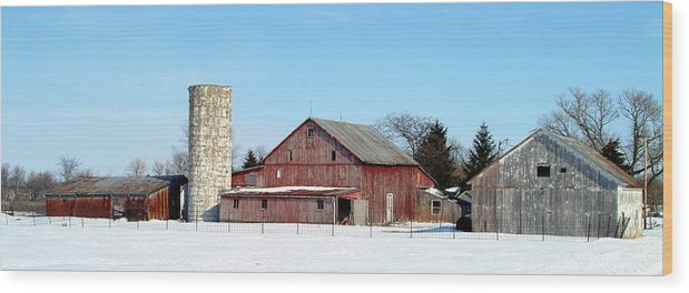 Farm Wood Print featuring the photograph 020309-70 by Mike Davis