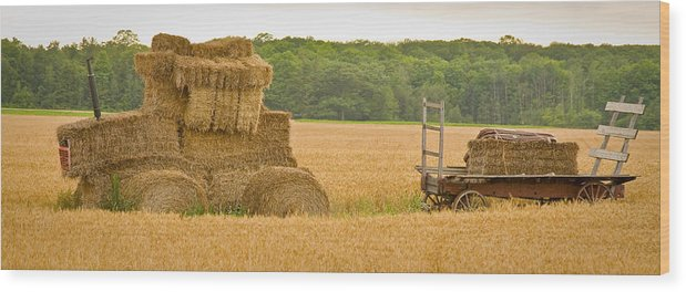 Wisconsin Wood Print featuring the photograph Hay Tractor by Carl Jackson