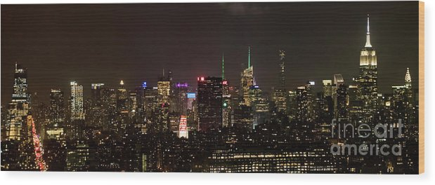 Midtown Wood Print featuring the photograph Midtown West Manhattan Skyline Aerial At Night by David Oppenheimer