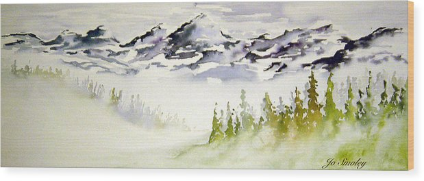 Rock Mountain Range Alberta Canada Wood Print featuring the painting Mist In The Mountains by Joanne Smoley