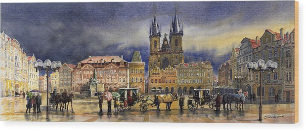 Watercolor Wood Print featuring the painting Prague Old Town Squere After Rain by Yuriy Shevchuk