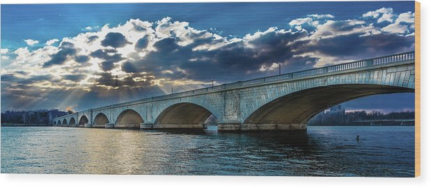 Photography Wood Print featuring the photograph Washington D.c. - Memorial Bridge by Panoramic Images