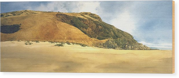 Seascape Wood Print featuring the painting Hiker's Delight by Tom Wooldridge
