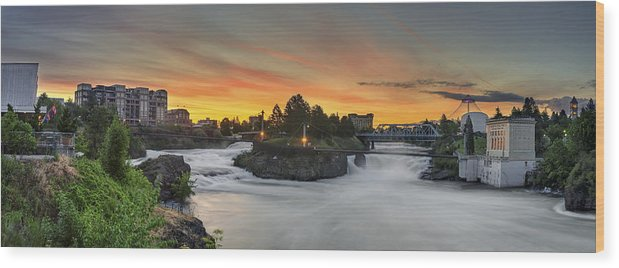 Spokane Wood Print featuring the photograph Spokane Sunrise by Michael Gass