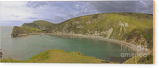 Beach Beauty Chalk Cliff Coastline Cove Dorset Edge England Geology Horizontal Landscape Lulworth Nature None Outcrop Panorama Rock Rural Sailing Scene Scenic Sea Seascape Sedimentary Ship Stone Tide Urban View Village Water West Wood Print featuring the photograph East Lulworth Cove Panorama by Sanyi Kumar