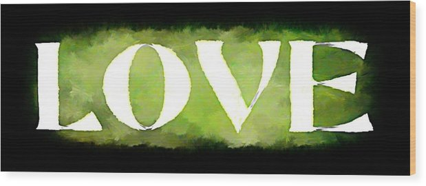 Love Wood Print featuring the mixed media Green With Love by Lauranns Etab