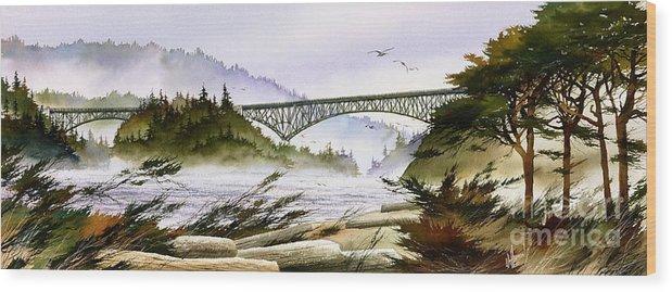 Landscape Fine Art Print Wood Print featuring the painting Deception Pass Bridge by James Williamson