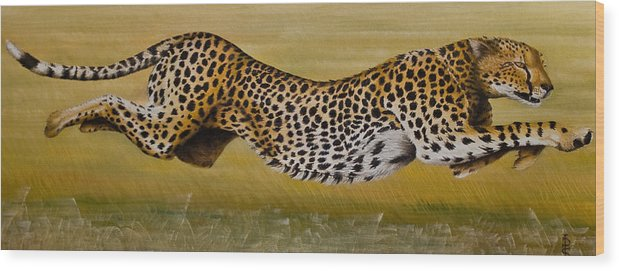 Cheetah Flying Run Speed Stretch Chase Wood Print featuring the painting Frozen At Full Charge by Pauline Sharp