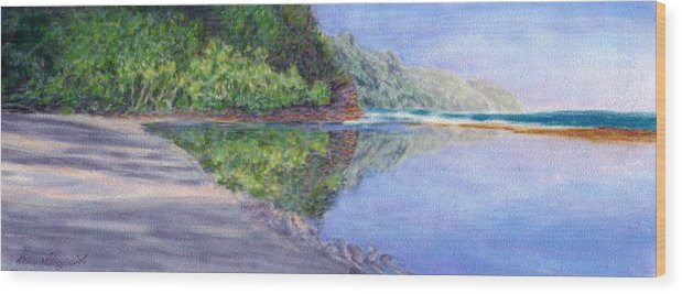 Rainbow Colors Pastel Wood Print featuring the painting Ke' E Beach In May by Kenneth Grzesik