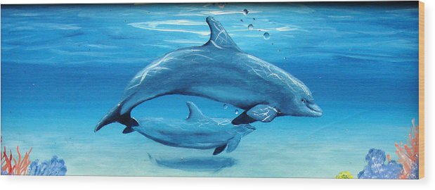 Dolphin Wood Print featuring the painting Momma by Darlene Green