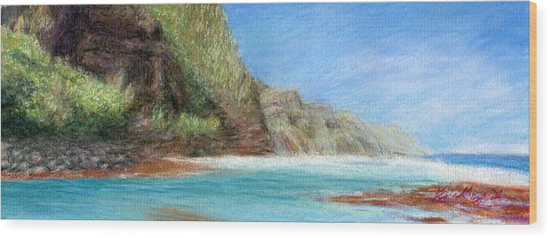 Rainbow Colors Pastel Wood Print featuring the painting Na Pali by Kenneth Grzesik