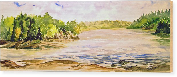 Pine Falls Manitoba Wood Print featuring the painting Plein Air At Pine Falls Manitoba by Joanne Smoley