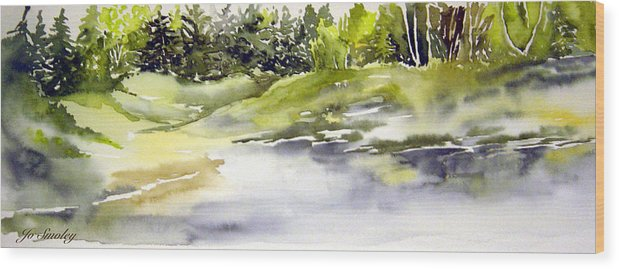 Nutimik Lake Whiteshell Manitoba Wood Print featuring the painting Plein Air At The Pond At Nutimik by Joanne Smoley