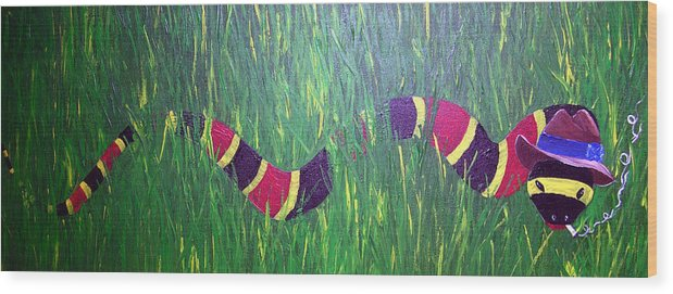 Coral Snake Wood Print featuring the painting Snake In The Grass by Sharon Supplee