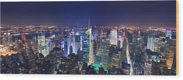 Times Square Wood Print featuring the photograph New York City Manhattan Night Panorama by Songquan Deng