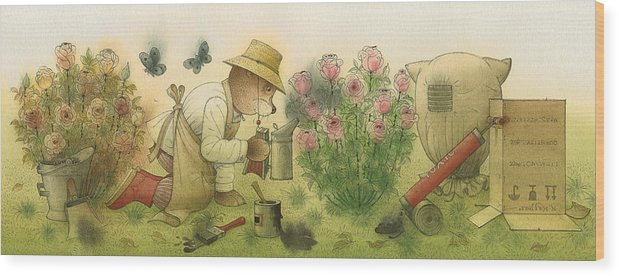 Bears Garden Flowers Roses Magic Glamour Wood Print featuring the painting Florentius The Gardener11 by Kestutis Kasparavicius