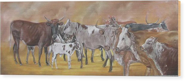 Nguni Wood Print featuring the pastel From The Grazing Fields by Boarding Dzinotizei