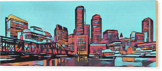 Colorful Boston Skyline Wood Print featuring the painting Pop Art Boston Skyline by Dan Sproul