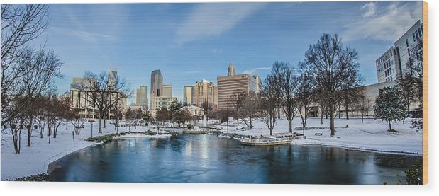 Charlotte Wood Print featuring the photograph Charlotte Downtown by Alex Grichenko