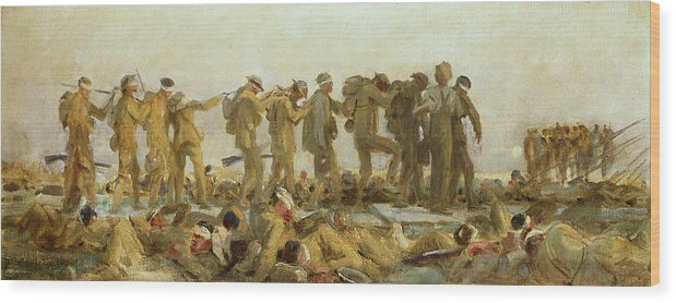 Gassed Wood Print featuring the painting Gassed  An Oil Study by John Singer Sargent