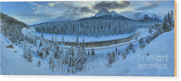 Bow River Wood Print featuring the photograph Bow Valley River Giant Panorama by Adam Jewell