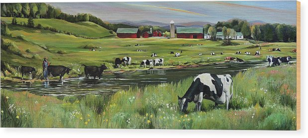 Landscape Wood Print featuring the painting Dairy Farm Dream by Nancy Griswold