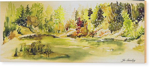 Fish Pond At Nutimik Lake Manitoba Whiteshell Wood Print featuring the painting Fish Pond At Nutimik Lake Manitoba by Joanne Smoley