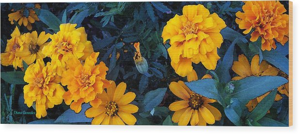 Flowers Wood Print featuring the painting Goldies by Diana Gonzalez