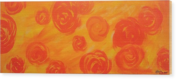 Orange Wood Print featuring the painting Hot Flora by Alyssa Davila