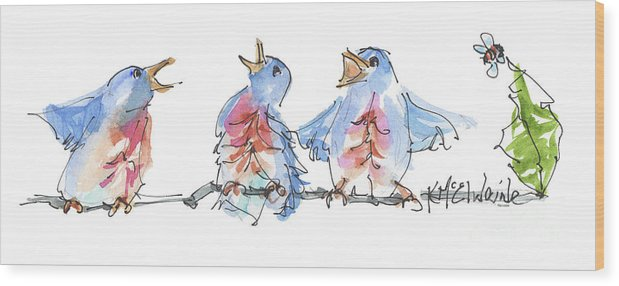 Bluebird Painting Wood Print featuring the painting Bluebirds Singing A New Song Bd002 by Kathleen McElwaine