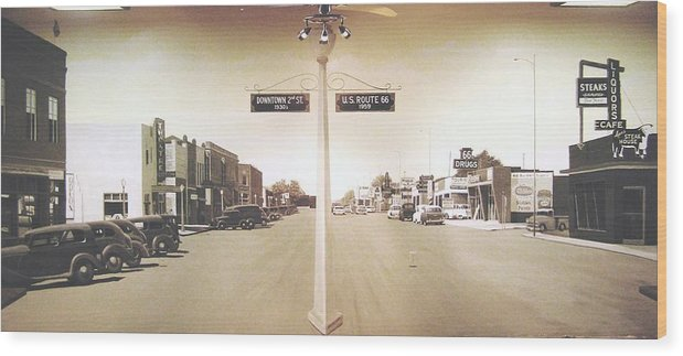 Mural Wood Print featuring the painting 2nd St. 1930 And Route 66 1950 by Doug Quarles