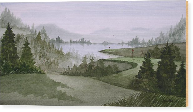 Golf Wood Print featuring the painting Northern Lake Golf by Sean Seal