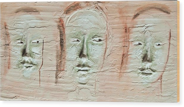 Portraits Wood Print featuring the painting Faces by Kime Einhorn