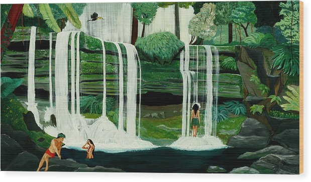 Tiki Art Wood Print featuring the painting Wahines In Waterfall by Julie Pflanzer