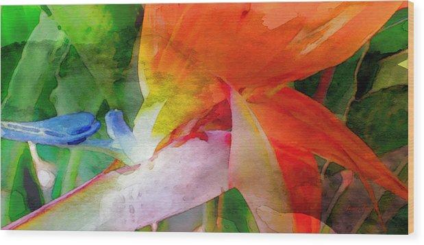 Bird Of Paradise Wood Print featuring the digital art Hawaiian Bird Of Paradise by James Temple