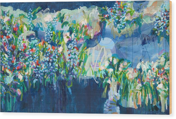 Abstract Wood Print featuring the painting Full Bloom by Claire Desjardins