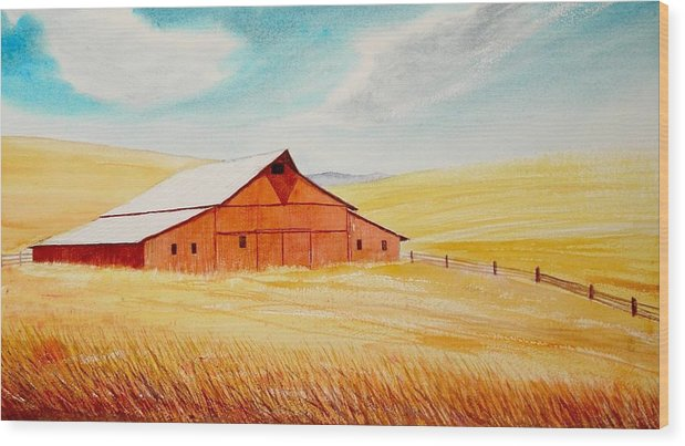 Wheat Wood Print featuring the painting Palouse Air by Leonard Heid