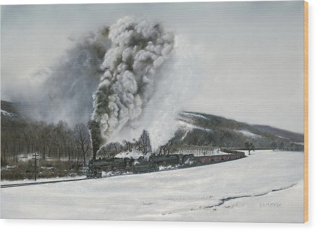 Trains Wood Print featuring the painting Mount Carmel Eruption by David Mittner