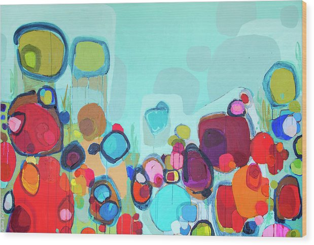 Abstract Wood Print featuring the painting Always Will Be by Claire Desjardins